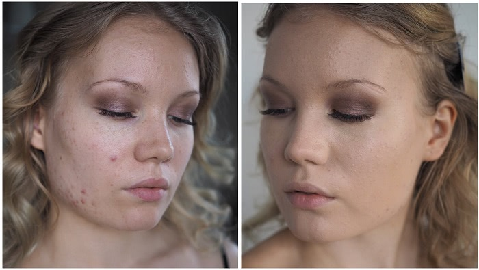 before after double wear foundation