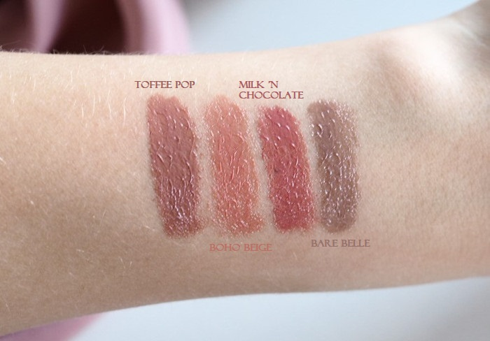 isadora twist-up gloss sticks swatches