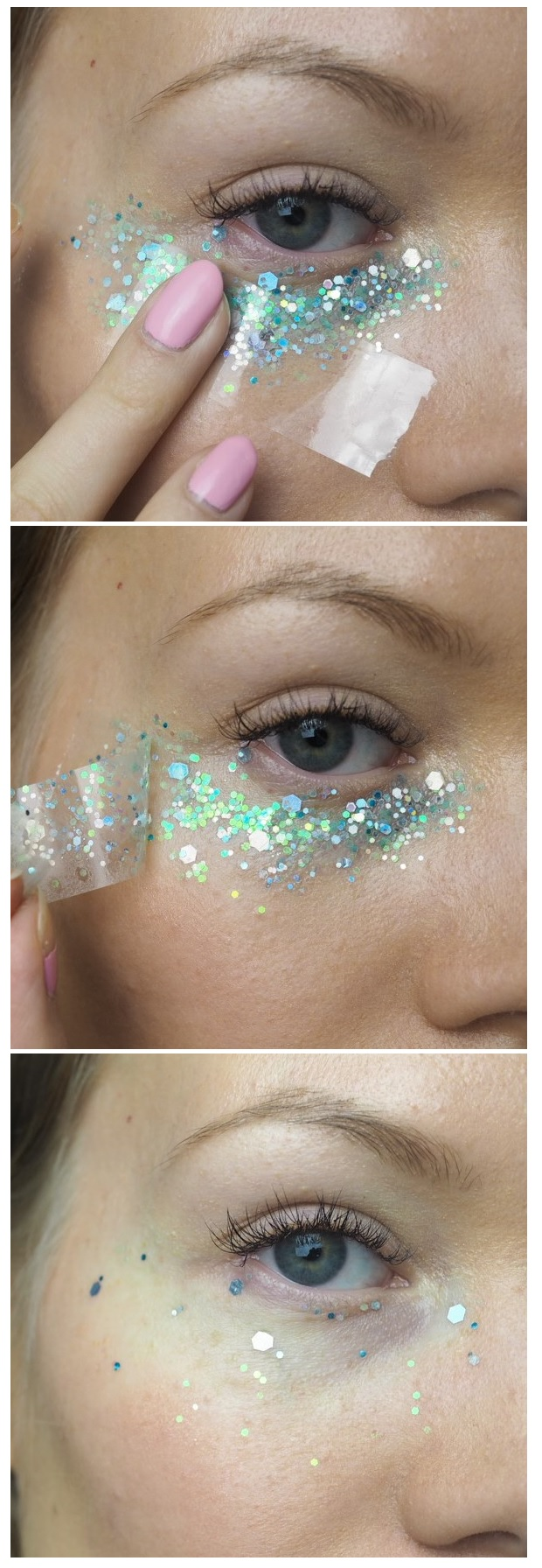 how to remove glitter makeup with tape