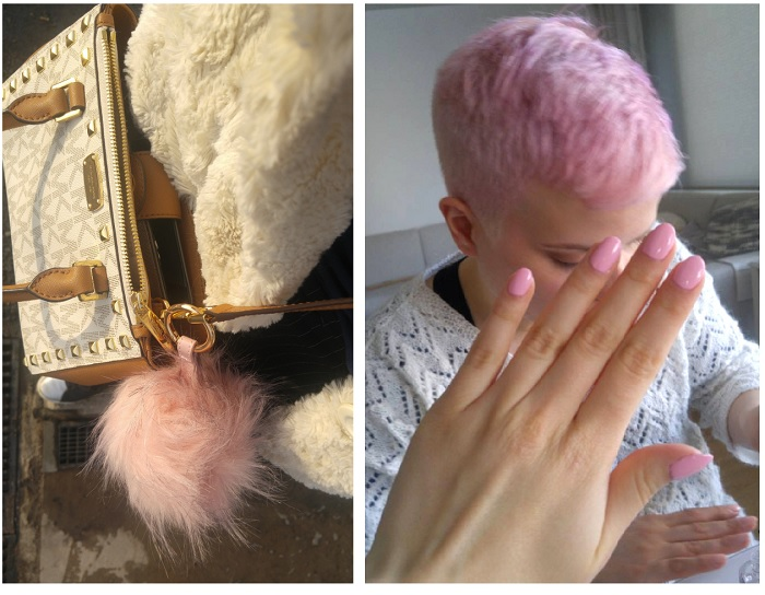 pink nails pink fur ball