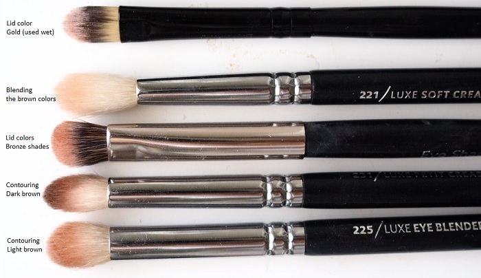 eyeshadow tutorial brushes used