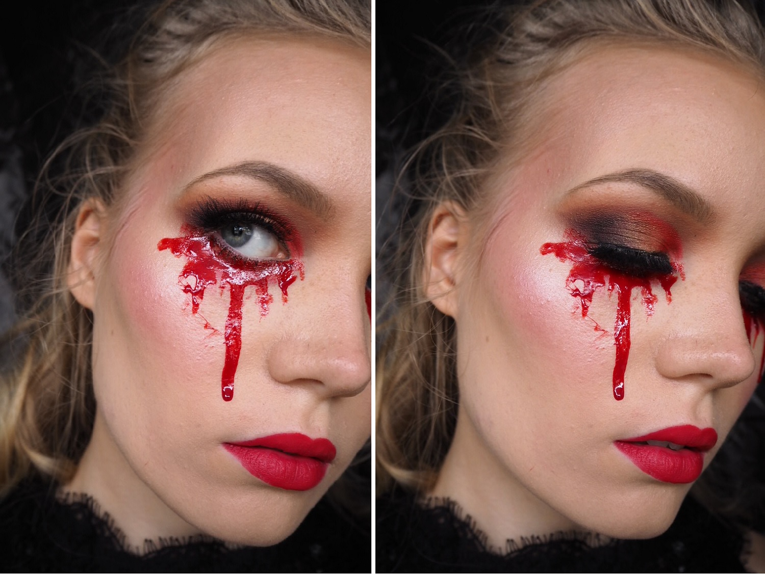 blood tears halloween makeup