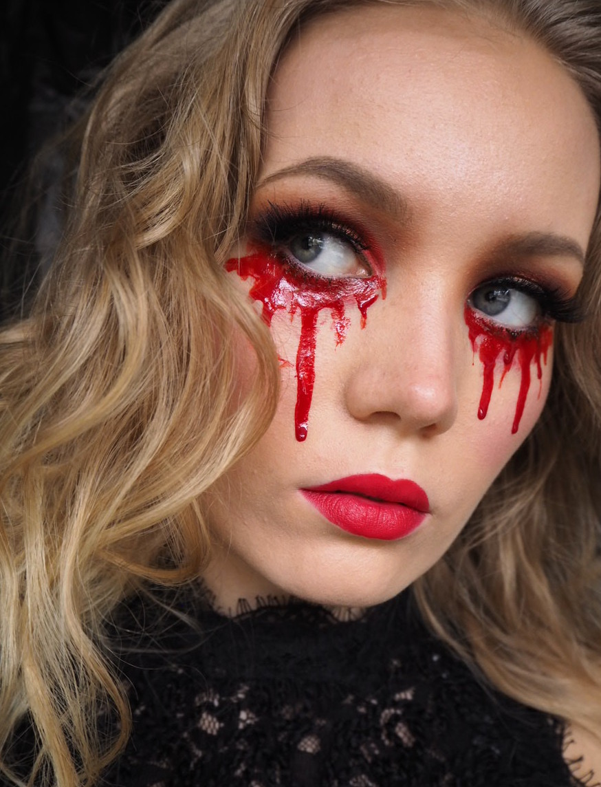 blood tears easy halloween makeup