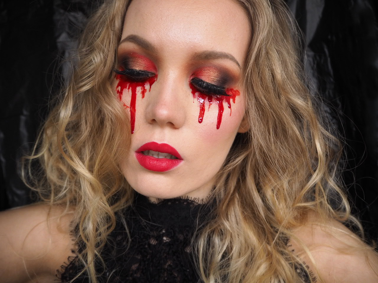 blood tears easy halloween look