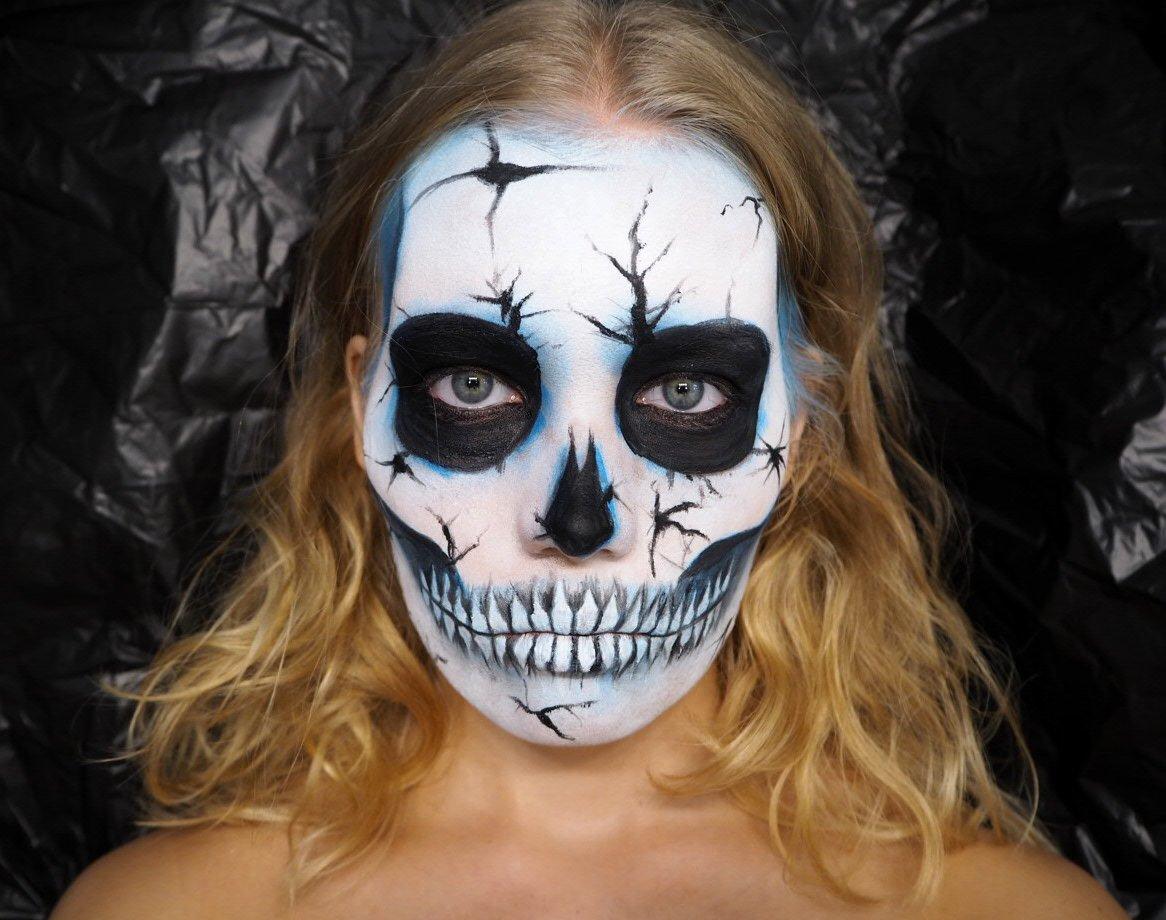 cracked blue skull makeup tutorial