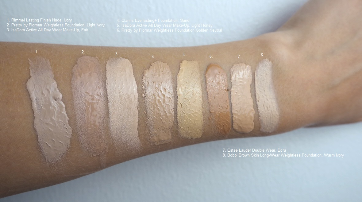 swatches 1. Rimmel Lasting Finish Nude Foundation, Ivory 2. Pretty By Flormar Weightless Foundation, Light Ivory 3. IsaDora Active All Day Wear Make-Up, Fair 4. Clarins Everlasting Foundation, Sand 5. IsaDora Active All Day Wear Make-Up, Light Honey 6. Pretty By Flormar Weightless Foundation, Golden neutral 7. Estee Lauder Double Wear, Ecru 8. Bobbi Brown Skin Long-Wear Weightless Foundation, Warm Ivory