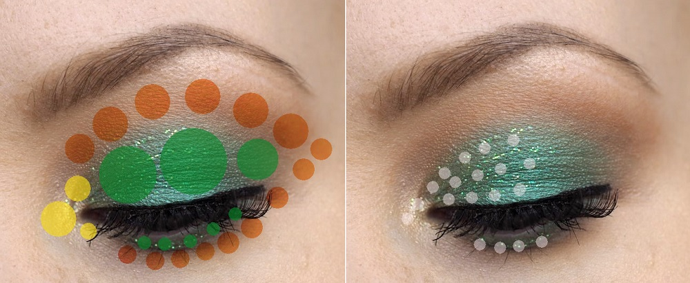 green eyeshadow placement