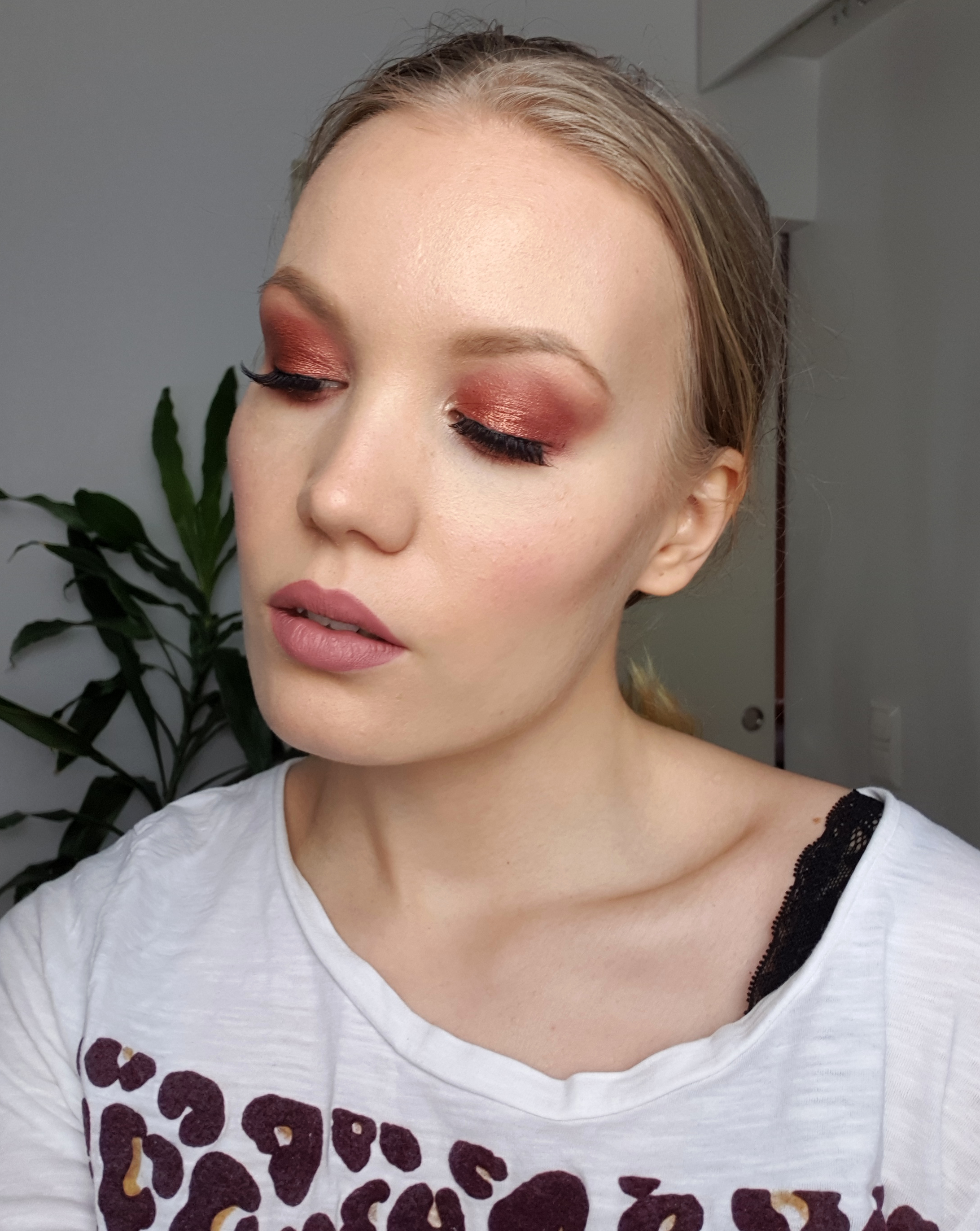 cranberry red makeup