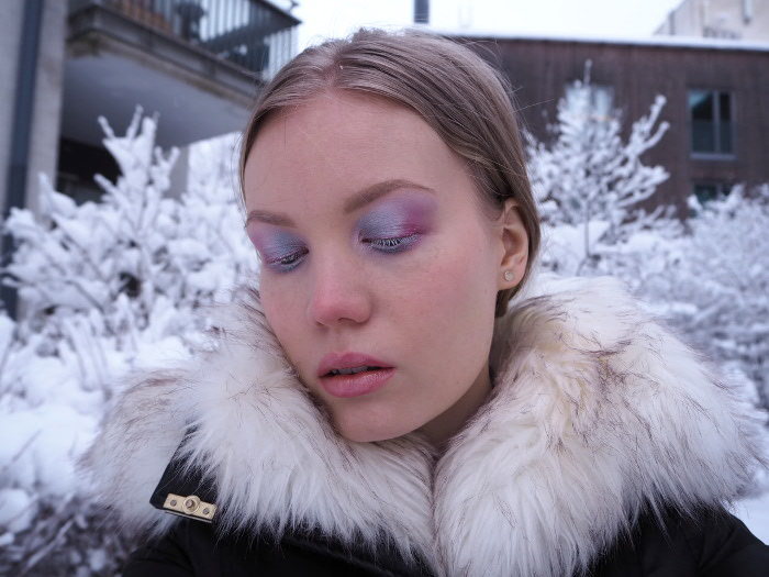 icy makeup blue pink