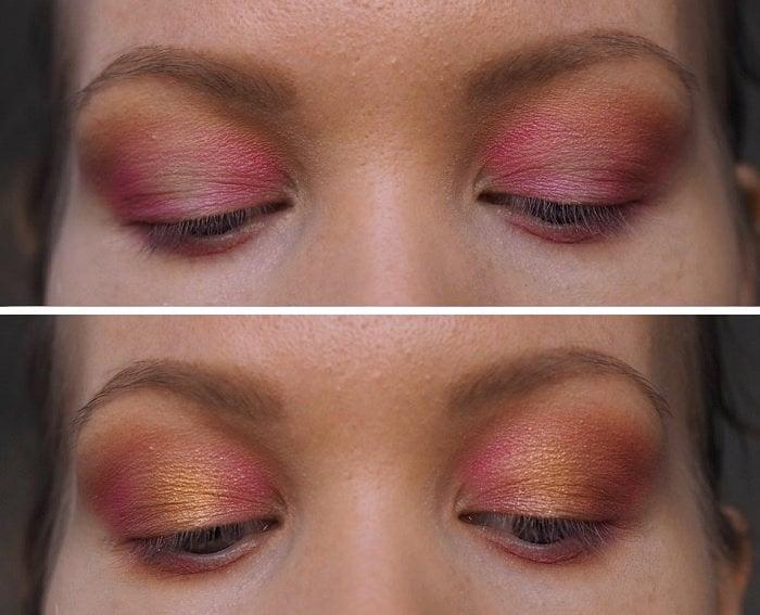 pink yellow orange sunset eyes makeup tutorial