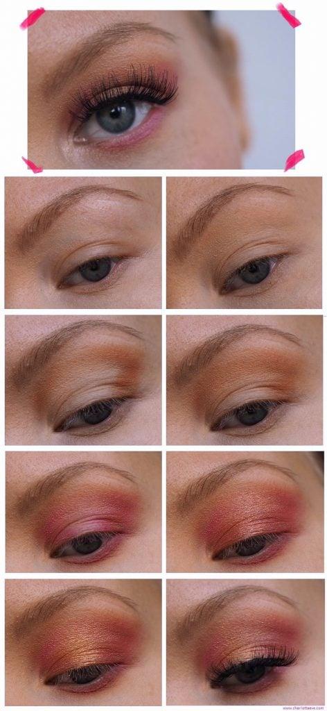 pink orange yellow sunset eyes makeup