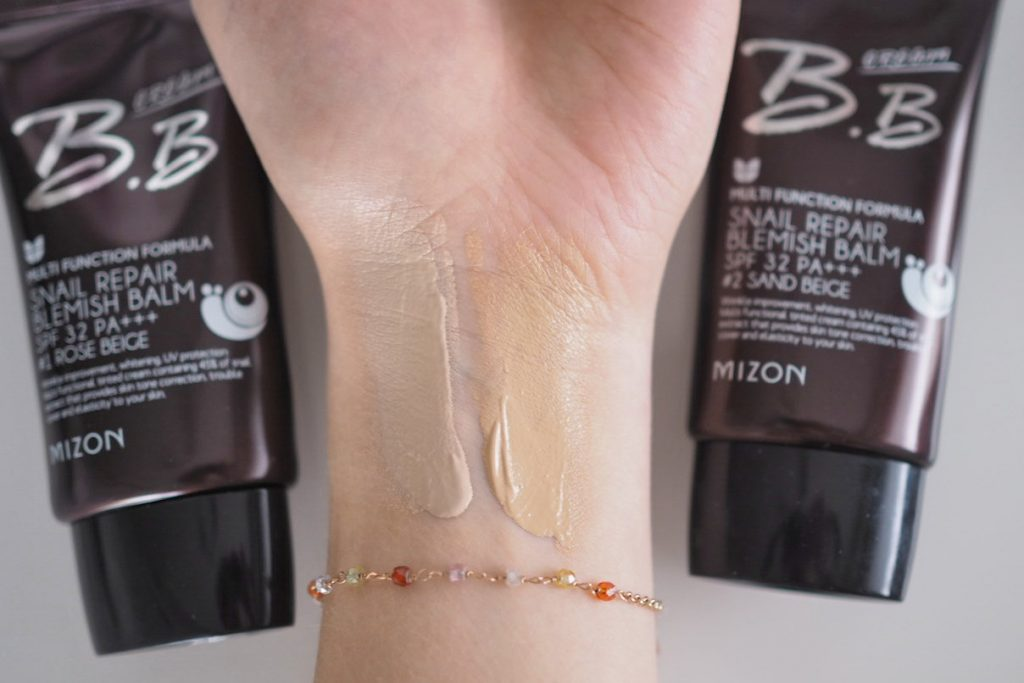 Mizon Snail Repair BB Cream Rose Beige and Sand Beige Swatches