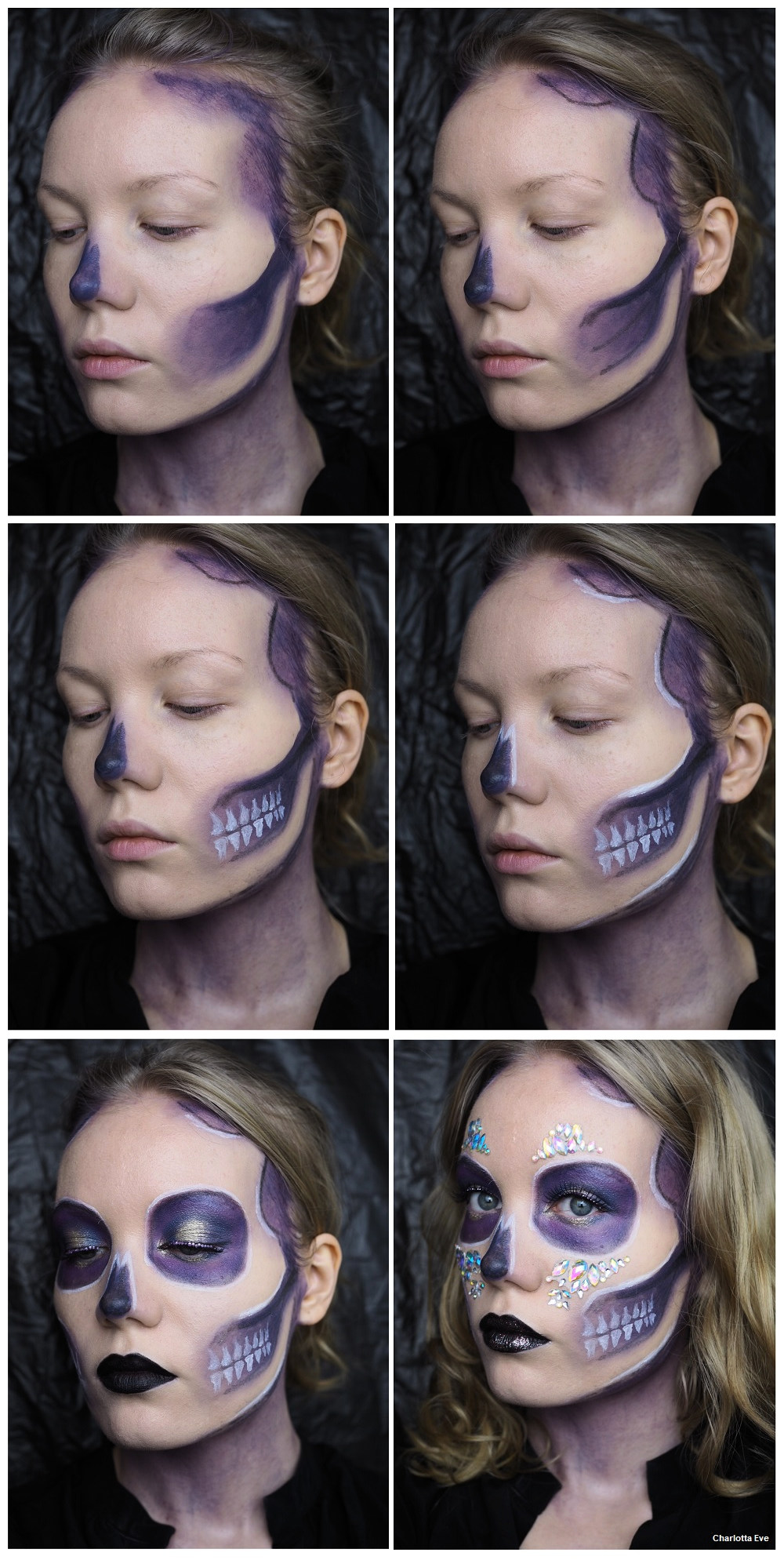 Purple Glam Skull Makeup Halloween Tutorial