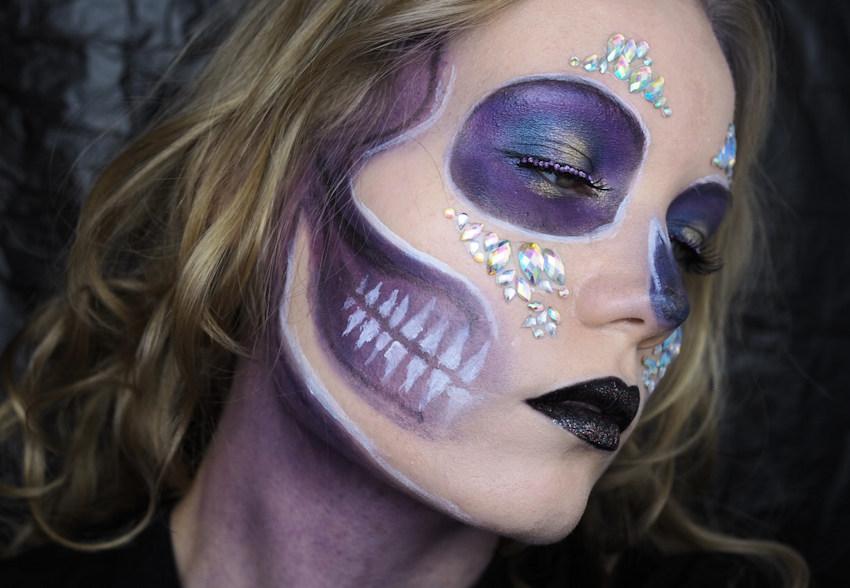 Purple Skull With Diamond Makeup