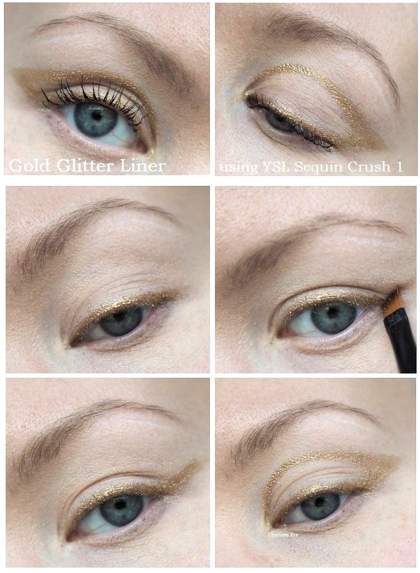 gold glitter liner makeup tutorial