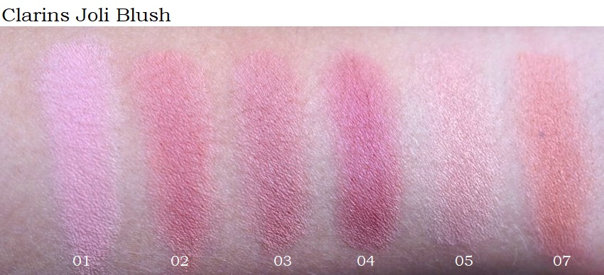 Clarins Joli Blush Shades (01 Cheeky Baby, 02 Cheeky Pink, 03 Cheeky Rose, 04 Cheeky Purple, 05 Cheeky Boum, 07 cheeky peach)) swatches