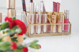 glass gold makeup organizer