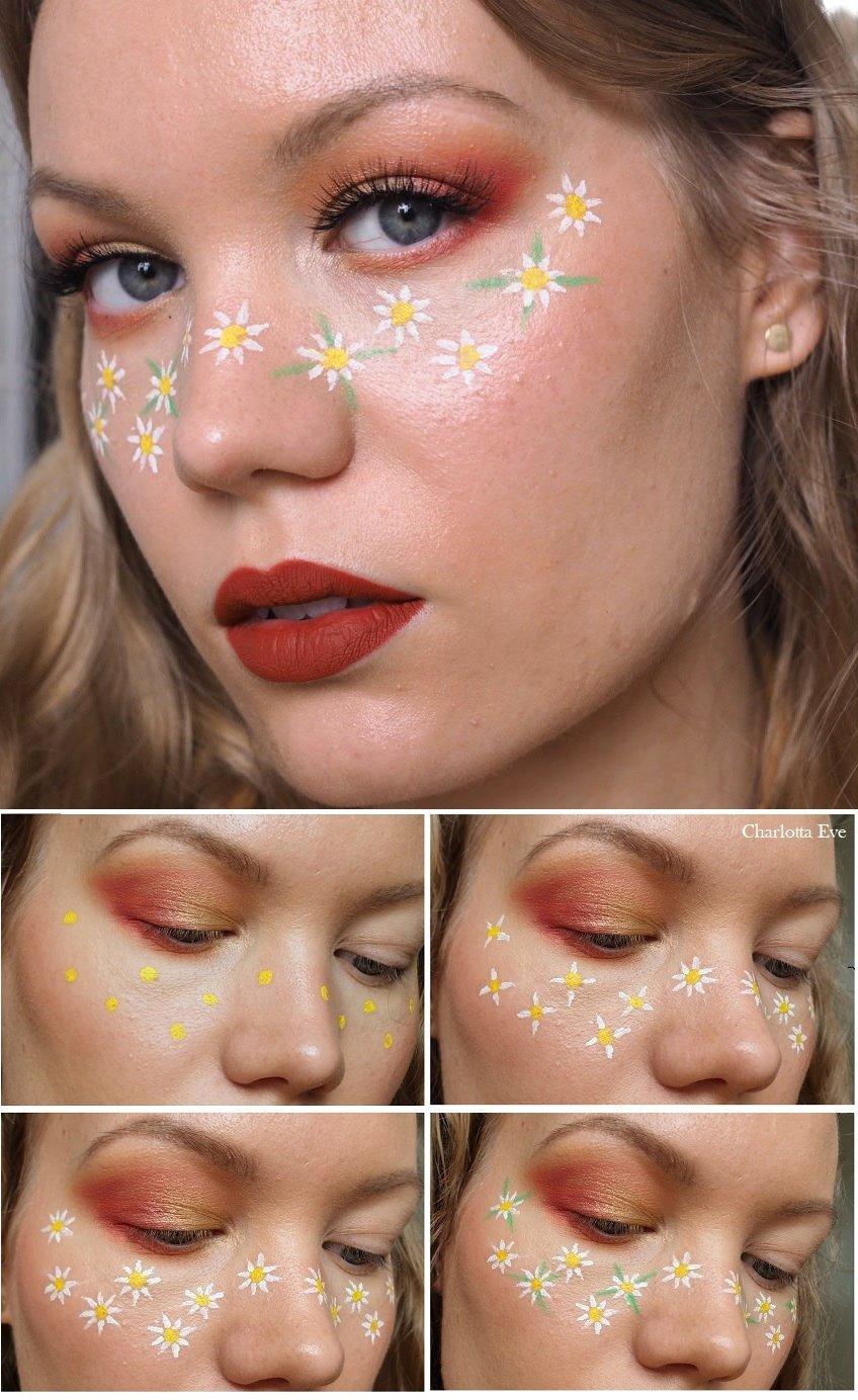flower freckles makeup tutorial