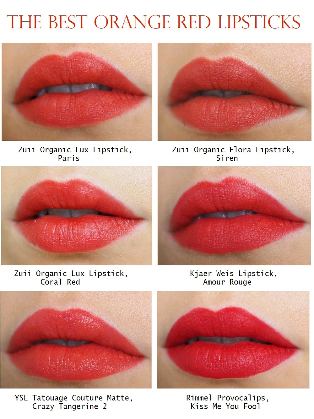 the best orange red lipsticks