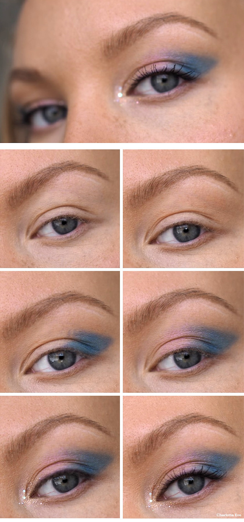 blue winged eyeshadow makeup tutorial