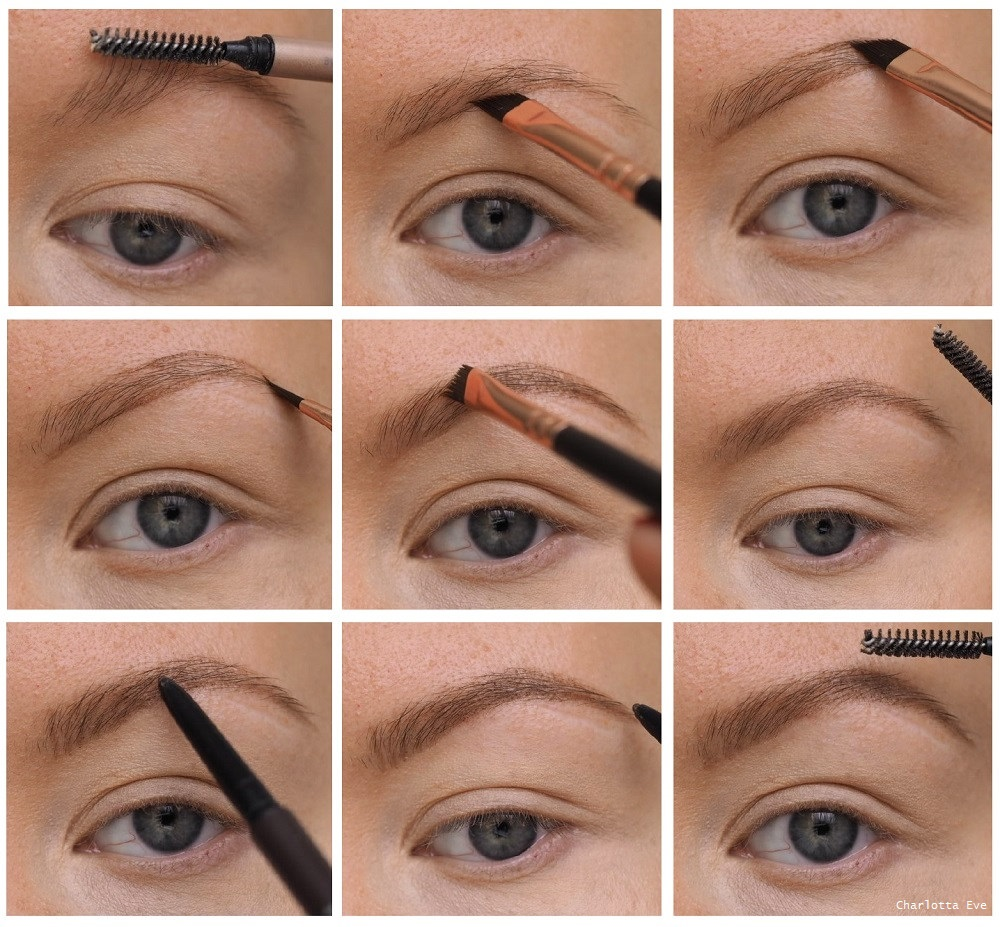 how to do brow makeup using powder and pencil