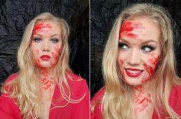 Easy Halloween look fake blood full glam makeup