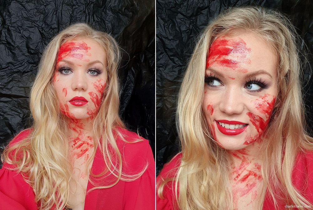 Easy Halloween look fake blood full glam makeup