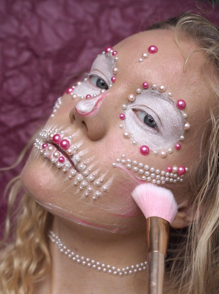pink white pearl skull halloween makeup
