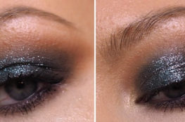 glittery smokey eye close up