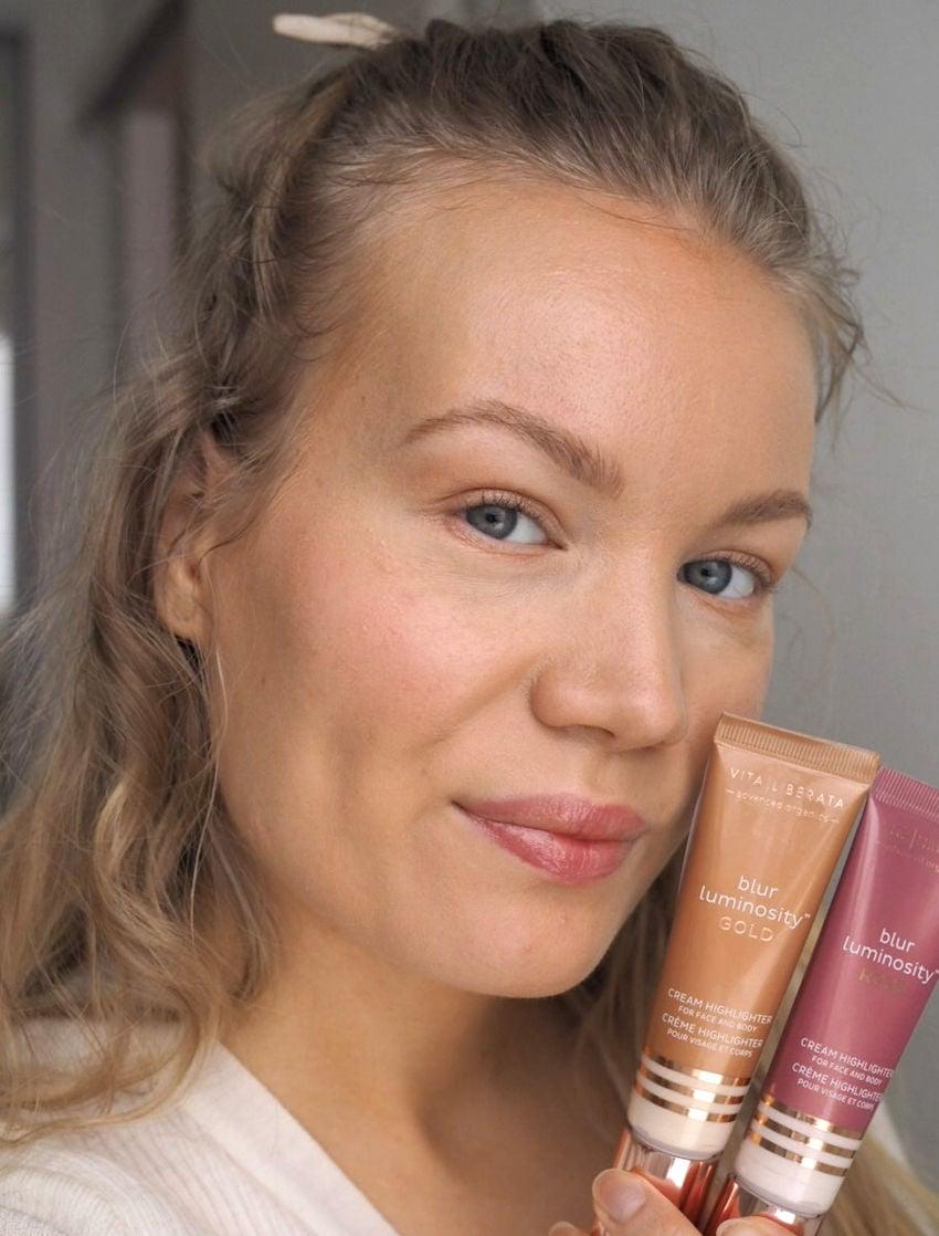 glowy skin with vita liberata luminosity highlighters