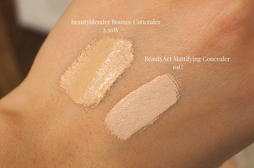 beautyblender concealer 230W and beautyact mattifying concealer 01C