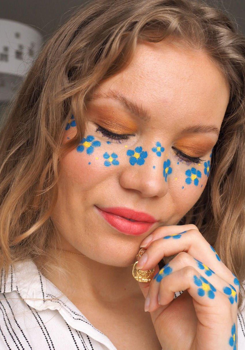 blue flower freckles spring makeup
