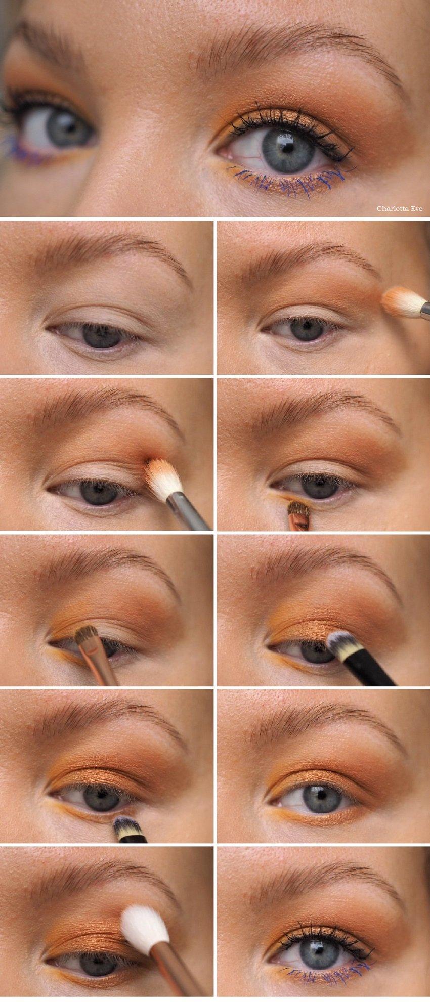 yellow bronze eye makeup tutorial