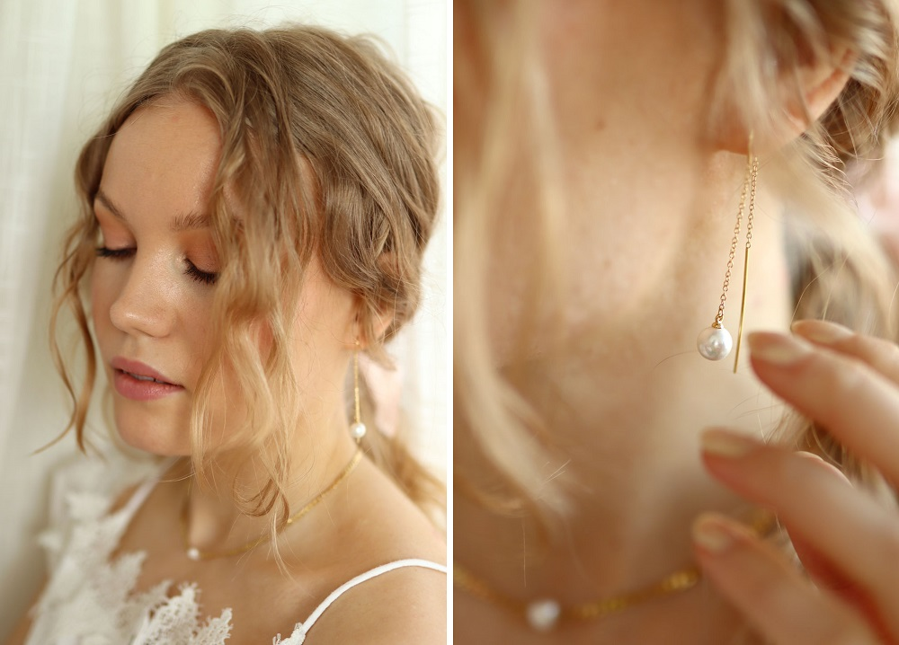 gold pearl earring and necklace rellery charlotta