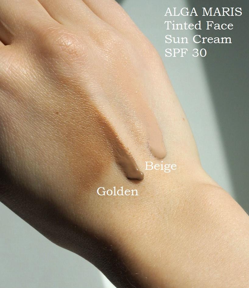 Alga Maris Tinted Face suncream SPF 30 Beige VS Golden Swatch