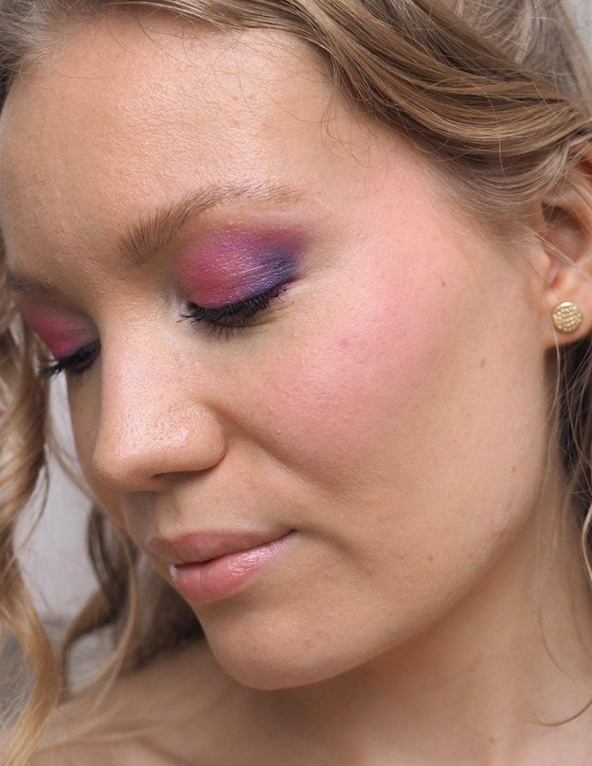 glowy skin purple eye makeup