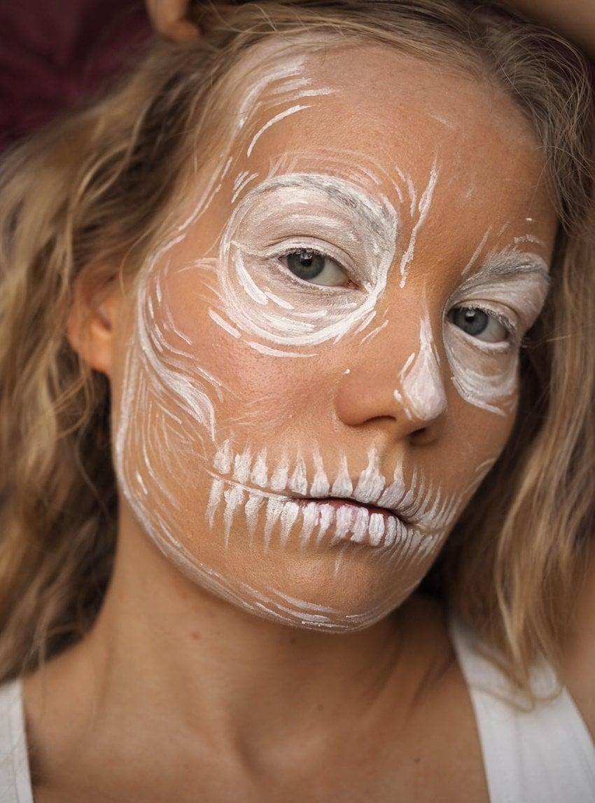 White Skull Halloween Makeup