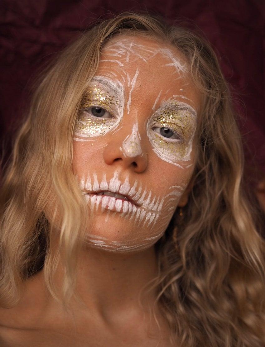 easy halloween makeup draft skull